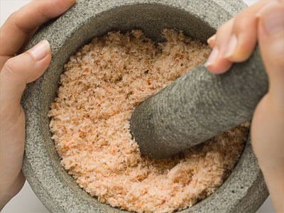 grinding dried shrimp