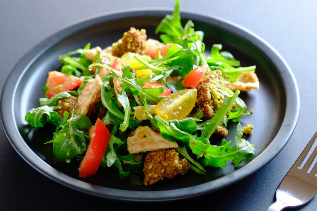 yellow split pea fritter salad