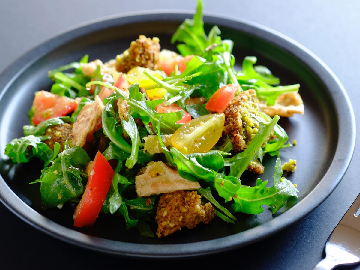 Yellow split pea fritter salad
